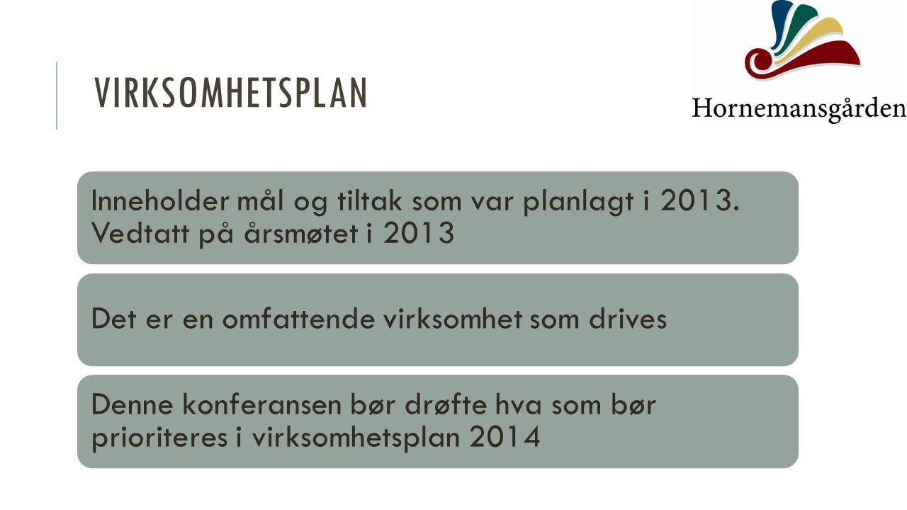VIRKSOMHETSPLAN Inneholder mål og tiltak som var planlagt i 2013. Vedtatt på årsmøtet i 2013 Det er en omfattende virksomhet som drives Denne konferan
