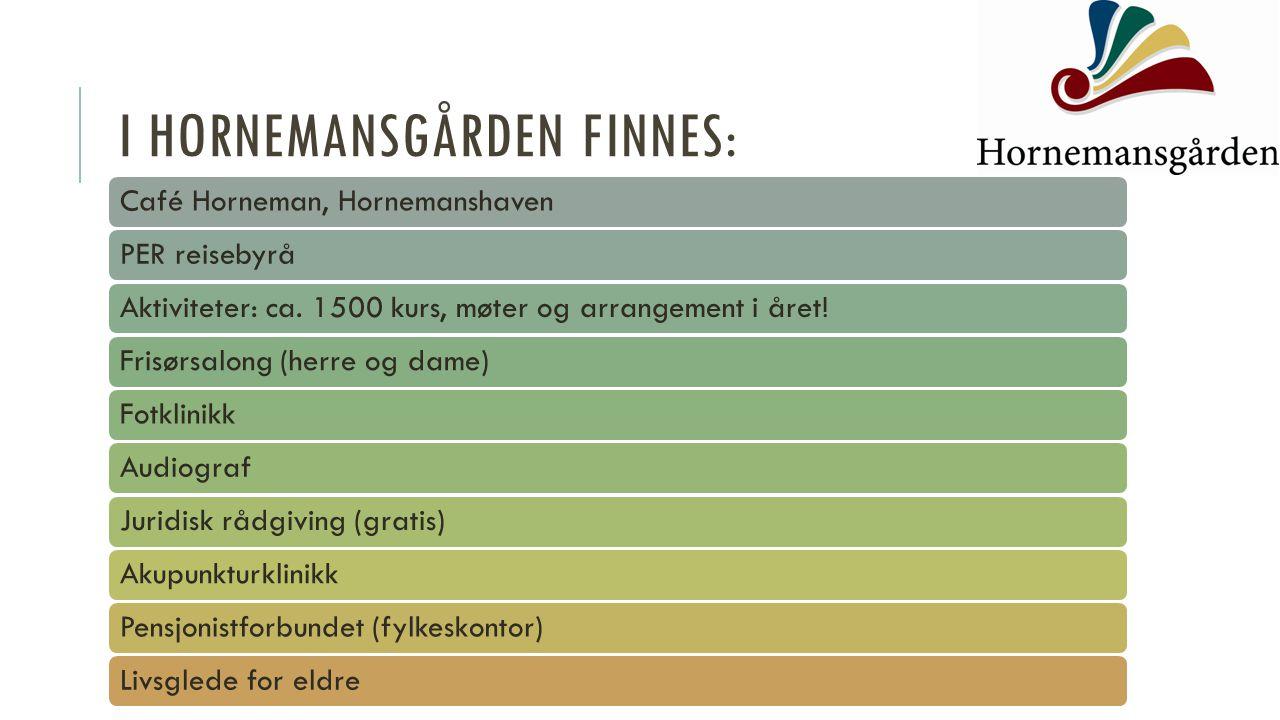I HORNEMANSGÅRDEN FINNES: Café Horneman, HornemanshavenPER reisebyråAktiviteter: ca. 1500 kurs, møter og arrangement i året!Frisørsalong (herre og dam