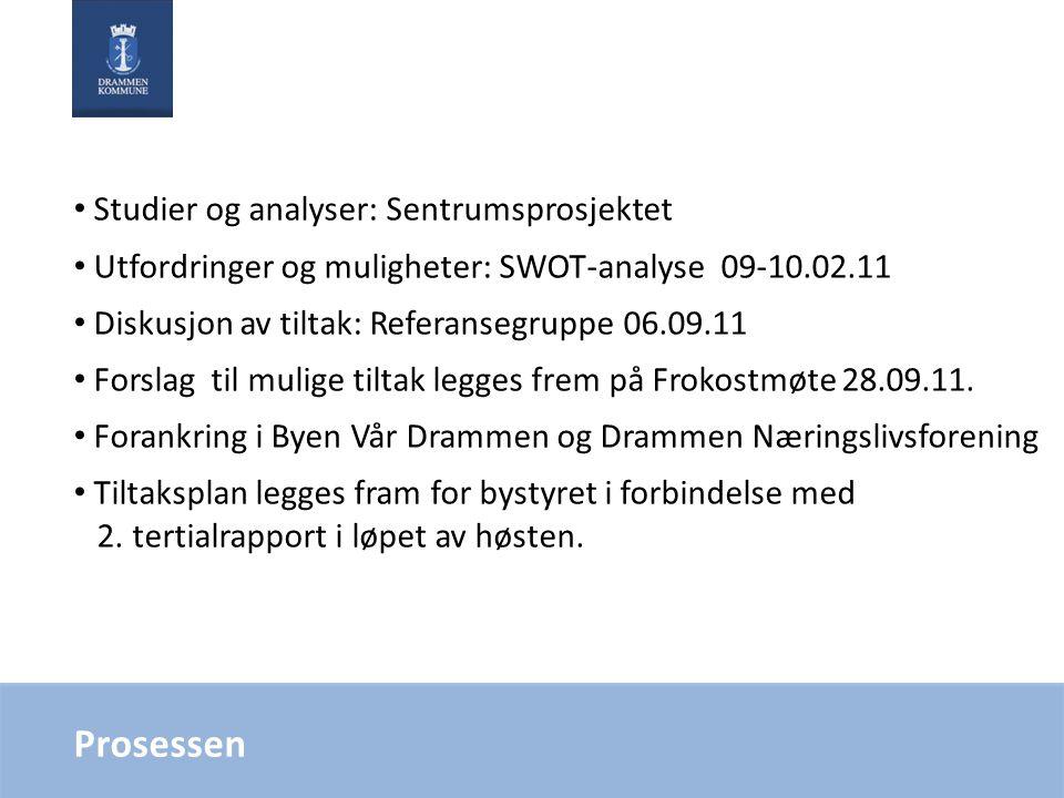 Prosessen • Studier og analyser: Sentrumsprosjektet • Utfordringer og muligheter: SWOT-analyse 09-10.02.11 • Diskusjon av tiltak: Referansegruppe 06.09.11 • Forslag til mulige tiltak legges frem på Frokostmøte 28.09.11.