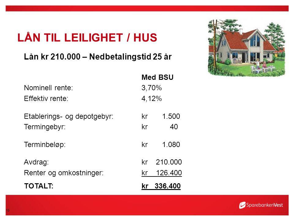 15 LÅN TIL LEILIGHET / HUS Lån kr 210.000 – Nedbetalingstid 25 år Med BSU Nominell rente:3,70% Effektiv rente:4,12% Etablerings- og depotgebyr:kr 1.50