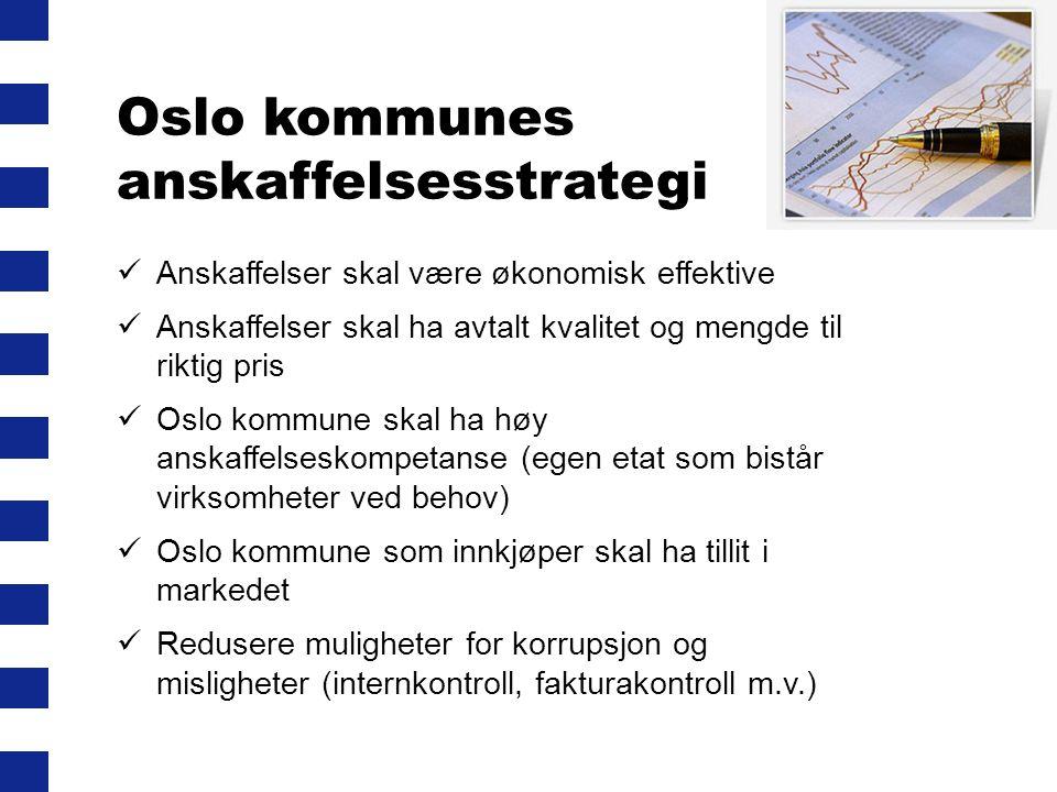 Oslo kommunes anskaffelsesstrategi  Anskaffelser skal være økonomisk effektive  Anskaffelser skal ha avtalt kvalitet og mengde til riktig pris  Osl