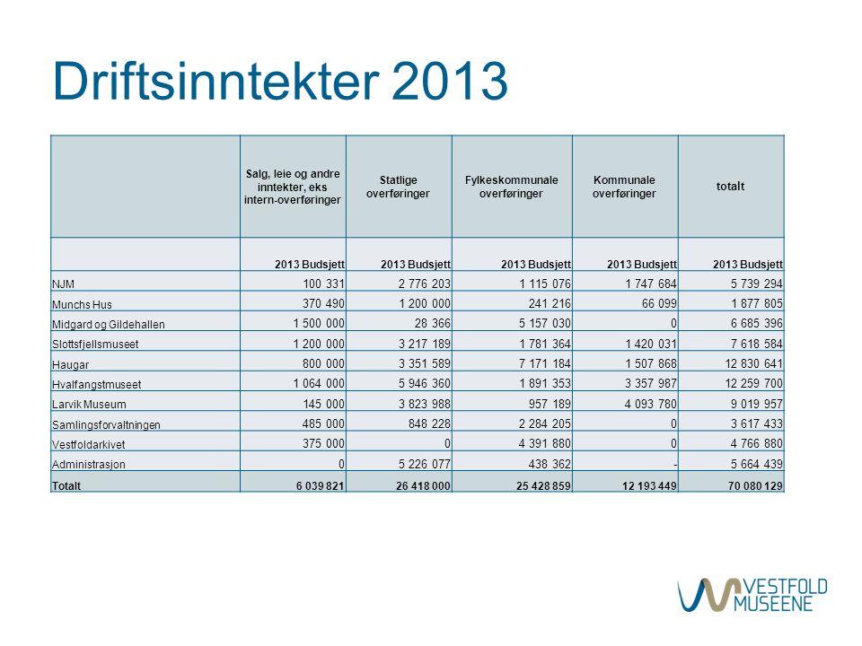 Driftsinntekter 2013 Salg, leie og andre inntekter, eks intern-overføringer Statlige overføringer Fylkeskommunale overføringer Kommunale overføringer