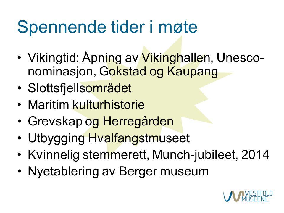 Spennende tider i møte •Vikingtid: Åpning av Vikinghallen, Unesco- nominasjon, Gokstad og Kaupang •Slottsfjellsområdet •Maritim kulturhistorie •Grevsk