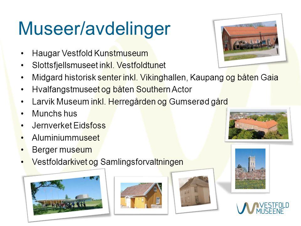 Museer/avdelinger •Haugar Vestfold Kunstmuseum •Slottsfjellsmuseet inkl. Vestfoldtunet •Midgard historisk senter inkl. Vikinghallen, Kaupang og båten