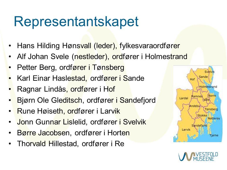 Representantskapet •Hans Hilding Hønsvall (leder), fylkesvaraordfører •Alf Johan Svele (nestleder), ordfører i Holmestrand •Petter Berg, ordfører i Tø