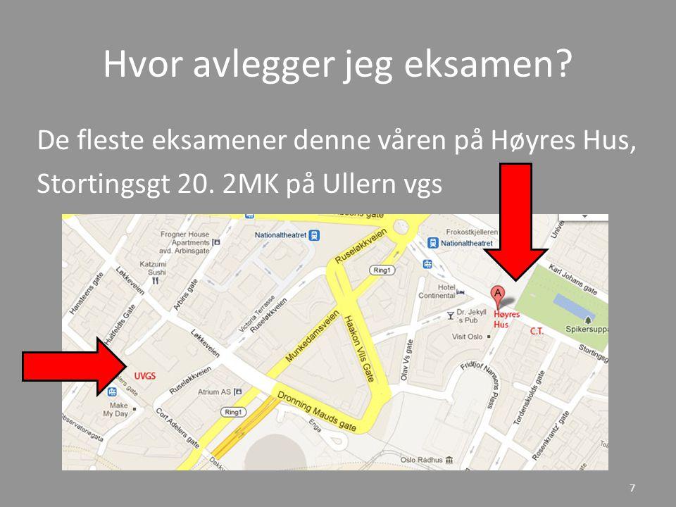 Hvor avlegger jeg eksamen.De fleste eksamener denne våren på Høyres Hus, Stortingsgt 20.