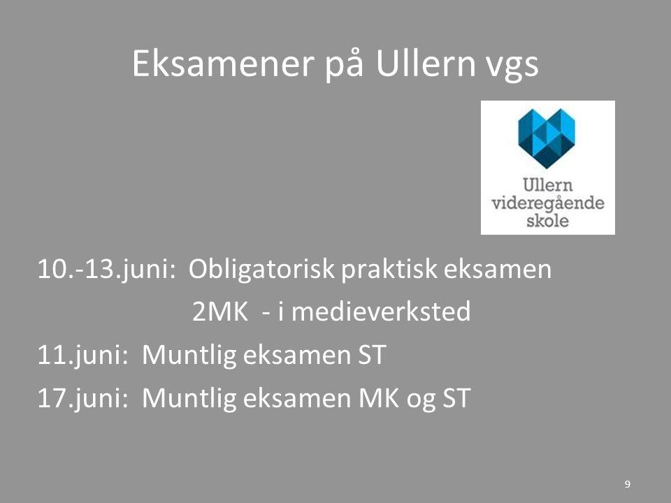 Eksamener på Ullern vgs 10.-13.juni: Obligatorisk praktisk eksamen 2MK - i medieverksted 11.juni: Muntlig eksamen ST 17.juni: Muntlig eksamen MK og ST 9