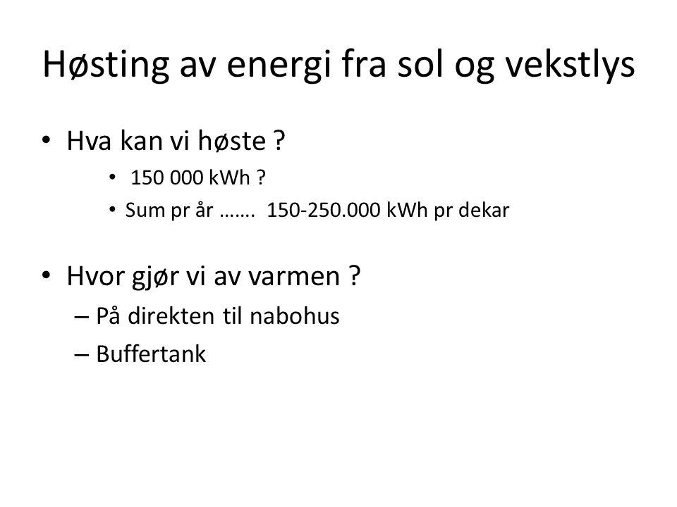 Høsting av energi fra sol og vekstlys • Hva kan vi høste ? • 150 000 kWh ? • Sum pr år ……. 150-250.000 kWh pr dekar • Hvor gjør vi av varmen ? – På di