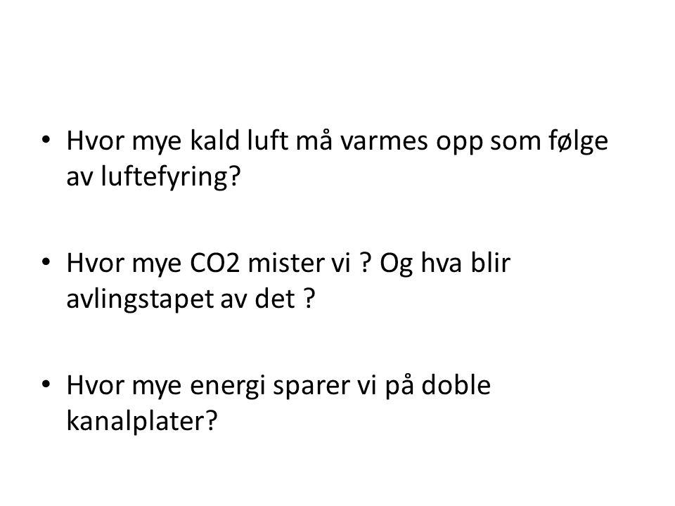 • Hvor mye kald luft må varmes opp som følge av luftefyring? • Hvor mye CO2 mister vi ? Og hva blir avlingstapet av det ? • Hvor mye energi sparer vi