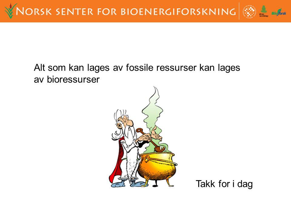 Alt som kan lages av fossile ressurser kan lages av bioressurser Takk for i dag