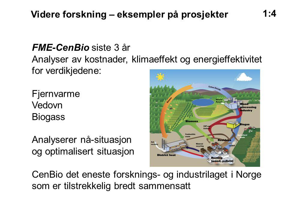 Videre forskning – eksempler på prosjekter 1:4 FME-CenBio siste 3 år Analyser av kostnader, klimaeffekt og energieffektivitet for verdikjedene: Fjernvarme Vedovn Biogass Analyserer nå-situasjon og optimalisert situasjon CenBio det eneste forsknings- og industrilaget i Norge som er tilstrekkelig bredt sammensatt