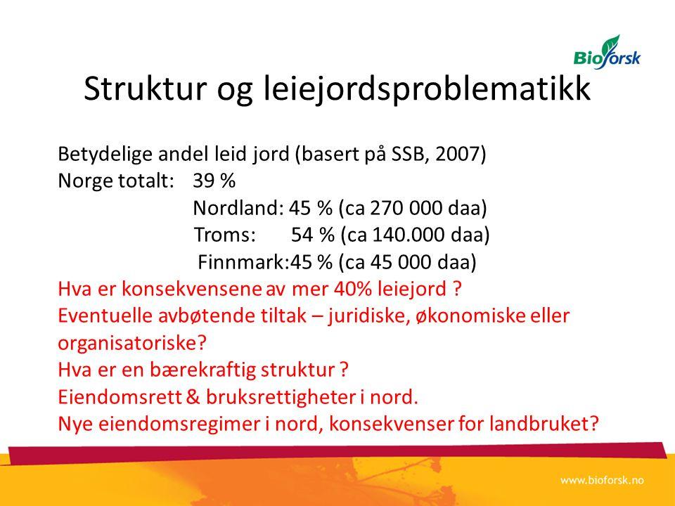 Struktur og leiejordsproblematikk Betydelige andel leid jord (basert på SSB, 2007) Norge totalt: 39 % Nordland: 45 % (ca 270 000 daa) Troms: 54 % (ca