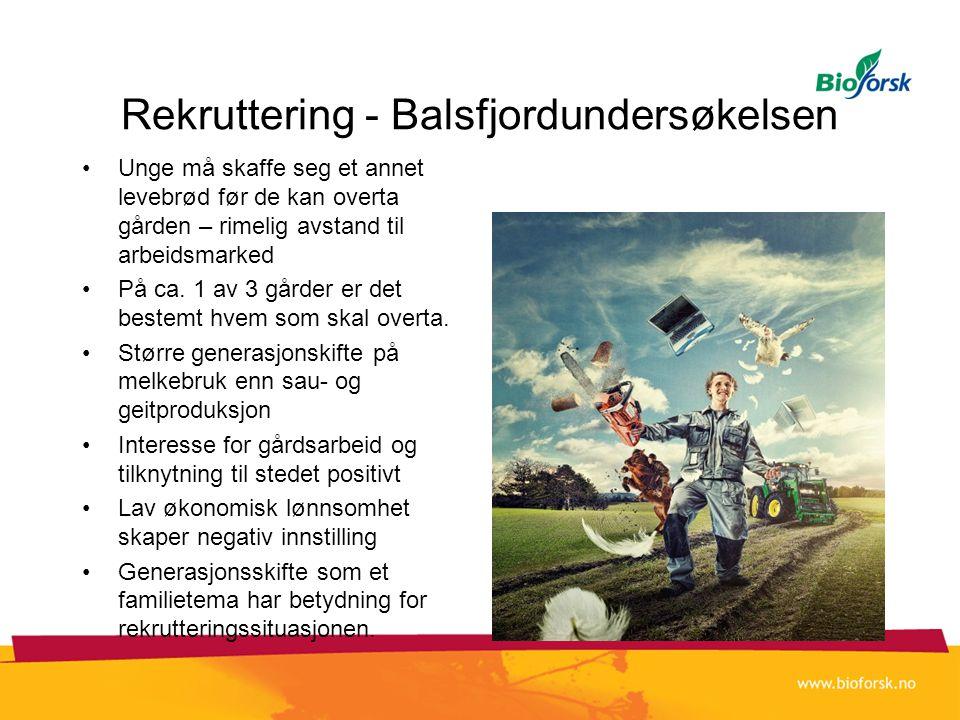 Rekruttering - Balsfjordundersøkelsen •Unge må skaffe seg et annet levebrød før de kan overta gården – rimelig avstand til arbeidsmarked •På ca. 1 av