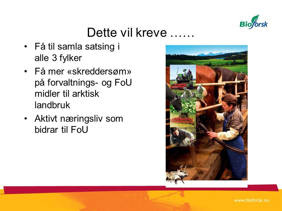 Dette vil kreve …… •Få til samla satsing i alle 3 fylker •Få mer «skreddersøm» på forvaltnings- og FoU midler til arktisk landbruk •Aktivt næringsliv