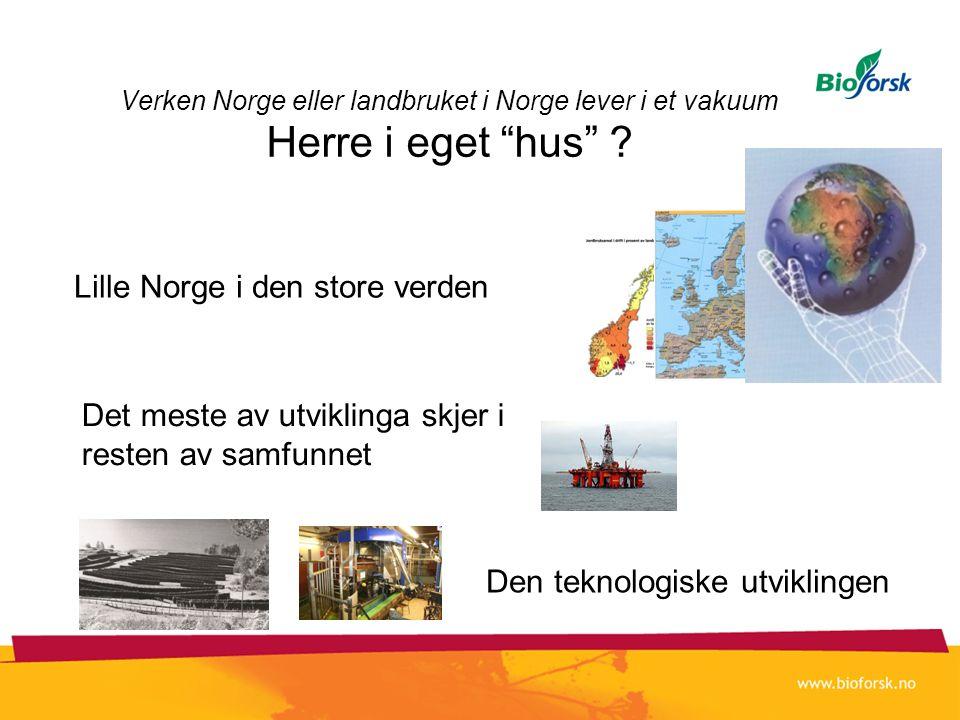 """Verken Norge eller landbruket i Norge lever i et vakuum Herre i eget """"hus"""" ? Lille Norge i den store verden Det meste av utviklinga skjer i resten av"""