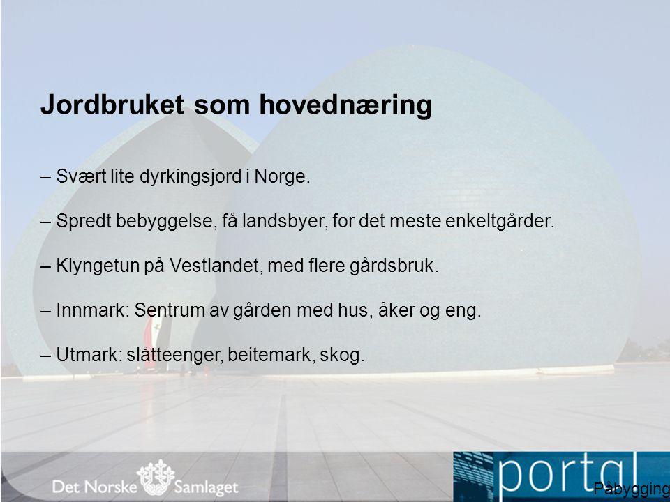 Jordbruket som hovednæring – Svært lite dyrkingsjord i Norge. – Spredt bebyggelse, få landsbyer, for det meste enkeltgårder. – Klyngetun på Vestlandet