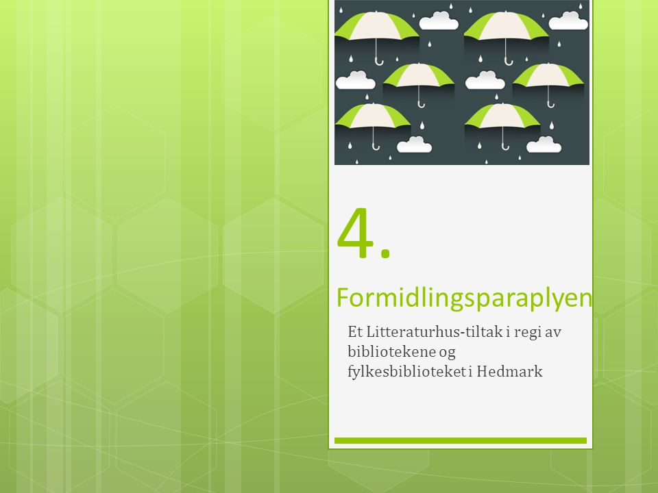 4. Formidlingsparaplyen Et Litteraturhus-tiltak i regi av bibliotekene og fylkesbiblioteket i Hedmark
