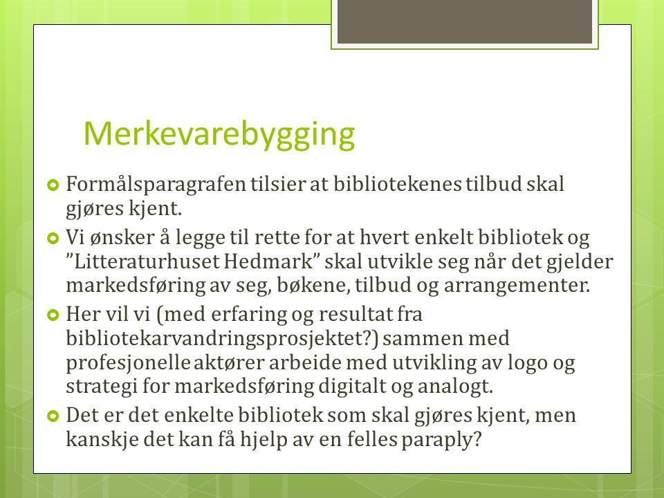 Merkevarebygging  Formålsparagrafen tilsier at bibliotekenes tilbud skal gjøres kjent.