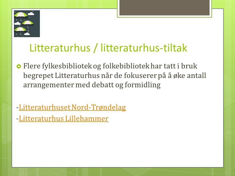 Litteraturhus / litteraturhus-tiltak  Flere fylkesbibliotek og folkebibliotek har tatt i bruk begrepet Litteraturhus når de fokuserer på å øke antall arrangementer med debatt og formidling -Litteraturhuset Nord-TrøndelagLitteraturhuset Nord-Trøndelag -Litteraturhus LillehammerLitteraturhus Lillehammer