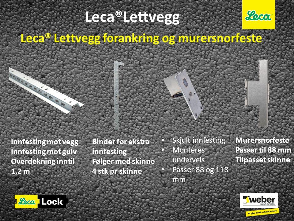 Leca®Lettvegg Leca® Lettvegg forankring og murersnorfeste Innfesting mot vegg Innfesting mot gulv Overdekning inntil 1,2 m Binder for ekstra innfestin