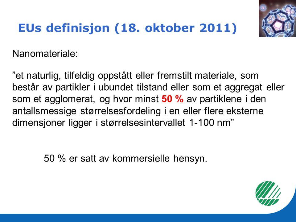 """EUs definisjon (18. oktober 2011) Nanomateriale: """"et naturlig, tilfeldig oppstått eller fremstilt materiale, som består av partikler i ubundet tilstan"""