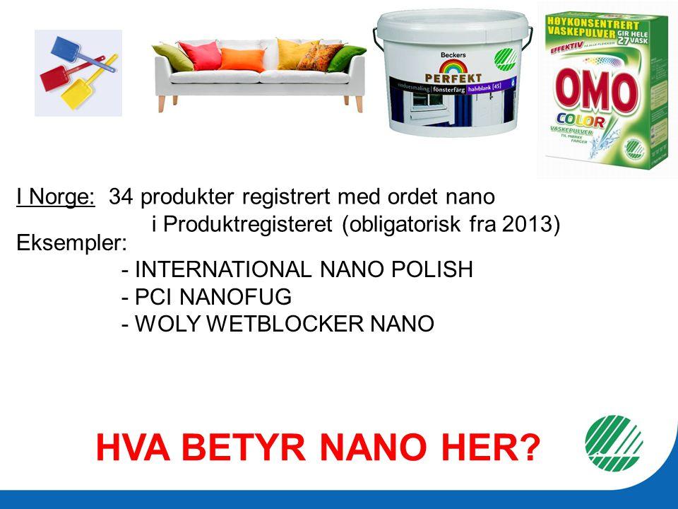 HVA BETYR NANO HER? Eksempler: - INTERNATIONAL NANO POLISH - PCI NANOFUG - WOLY WETBLOCKER NANO I Norge: 34 produkter registrert med ordet nano i Prod