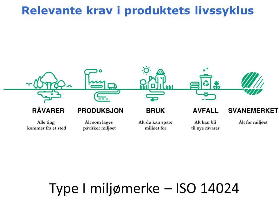 Relevante krav i produktets livssyklus Type I miljømerke – ISO 14024