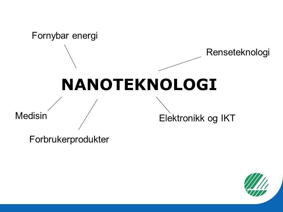 NANOTEKNOLOGI Fornybar energi Medisin Forbrukerprodukter Elektronikk og IKT Renseteknologi