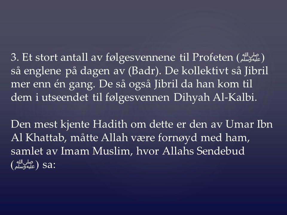 3. Et stort antall av følgesvennene til Profeten ( ﷺ ) så englene på dagen av (Badr). De kollektivt så Jibril mer enn én gang. De så også Jibril da ha