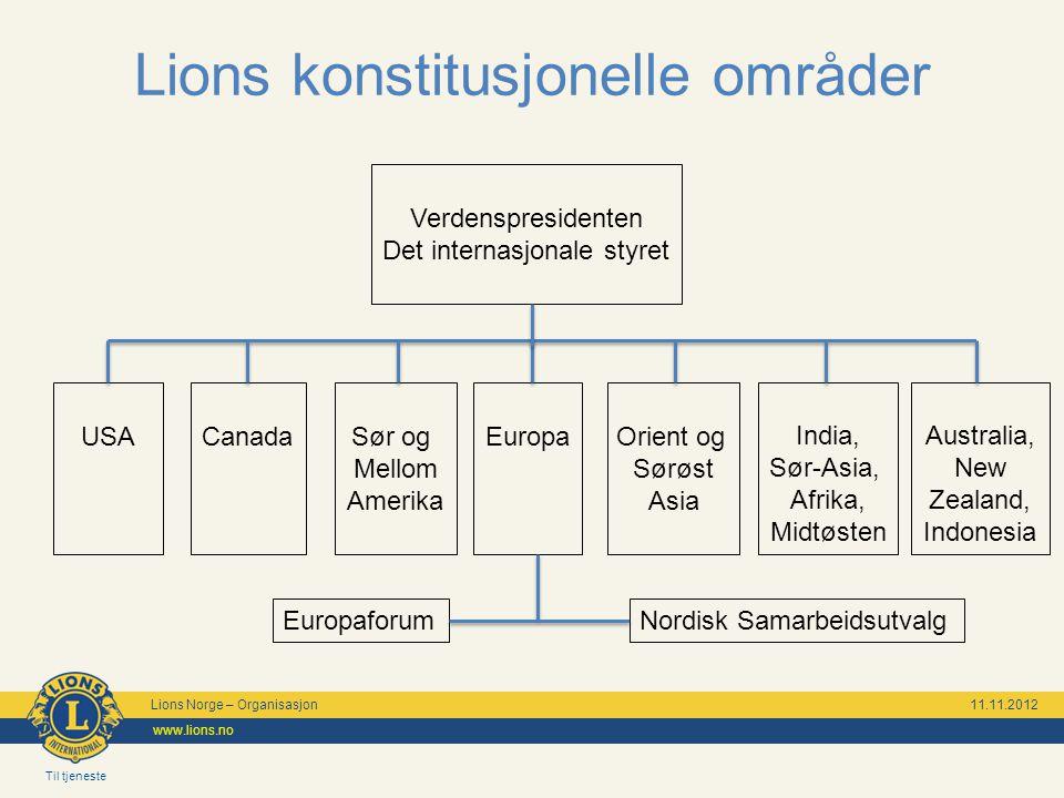 Til tjeneste Lions Norge – Organisasjon 11.11.2012 www.lions.no Lions konstitusjonelle områder Verdenspresidenten Det internasjonale styret USASør og