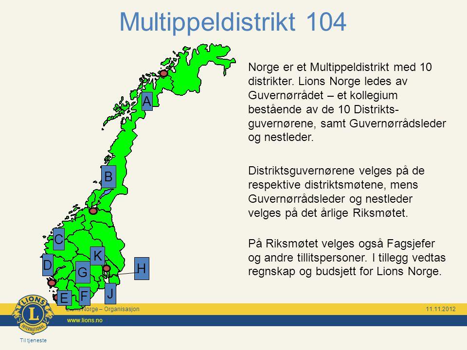 Til tjeneste Lions Norge – Organisasjon 11.11.2012 www.lions.no Multippeldistrikt 104 Norge er et Multippeldistrikt med 10 distrikter.