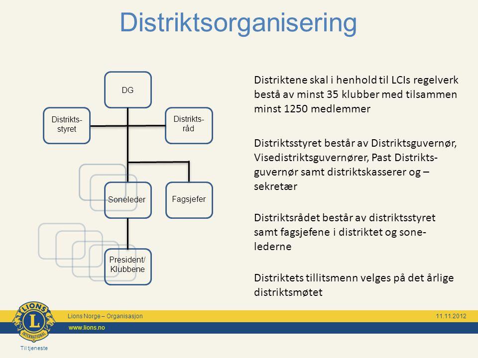 Til tjeneste Lions Norge – Organisasjon 11.11.2012 www.lions.no Distriktsorganisering Distriktene skal i henhold til LCIs regelverk bestå av minst 35