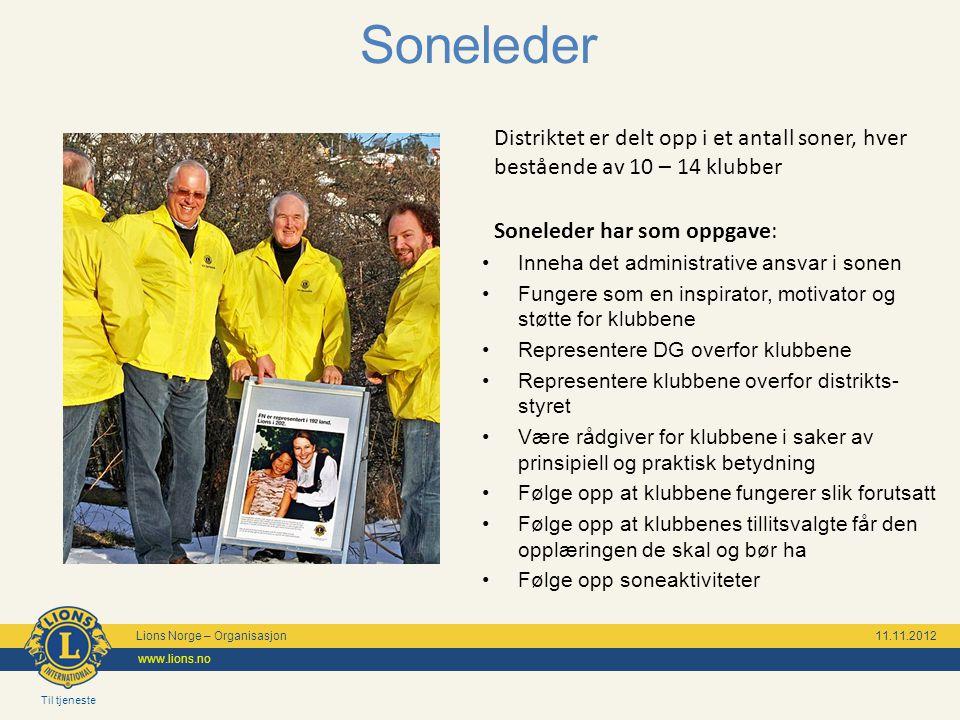 Til tjeneste Lions Norge – Organisasjon 11.11.2012 www.lions.no Soneleder Distriktet er delt opp i et antall soner, hver bestående av 10 – 14 klubber