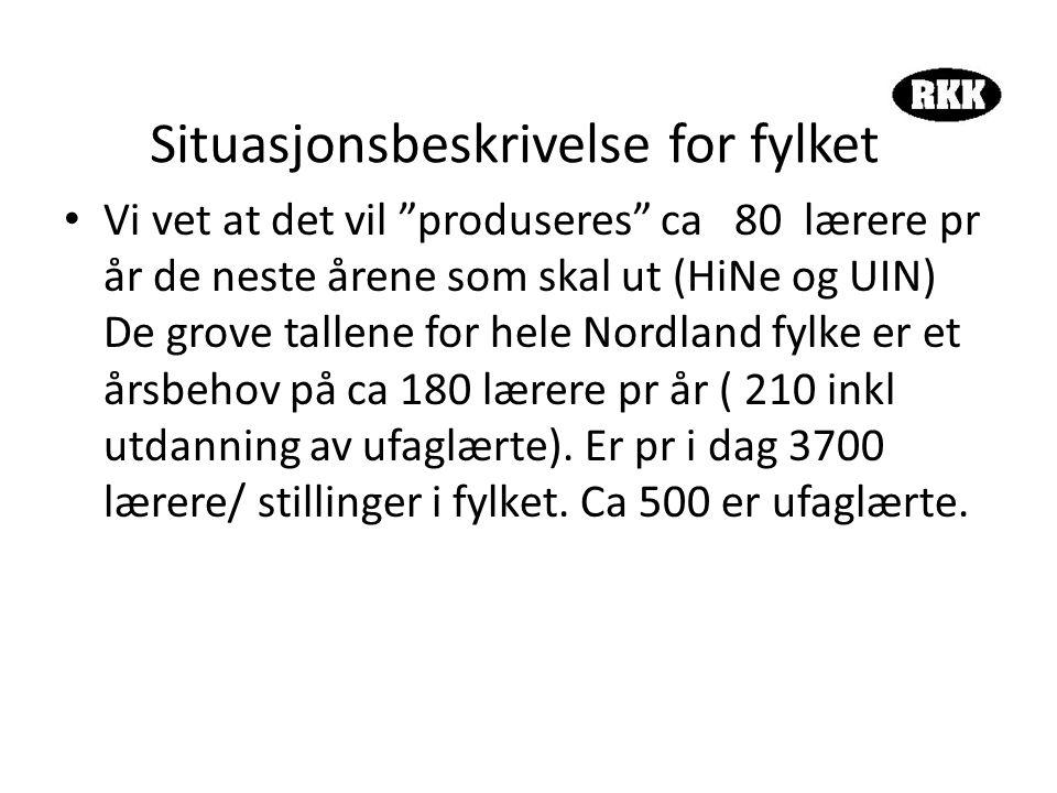 Situasjonsbeskrivelse for fylket • Vi vet at det vil produseres ca 80 lærere pr år de neste årene som skal ut (HiNe og UIN) De grove tallene for hele Nordland fylke er et årsbehov på ca 180 lærere pr år ( 210 inkl utdanning av ufaglærte).