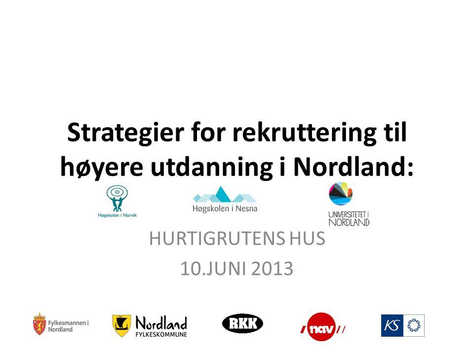 Strategier for rekruttering til høyere utdanning i Nordland: HURTIGRUTENS HUS 10.JUNI 2013