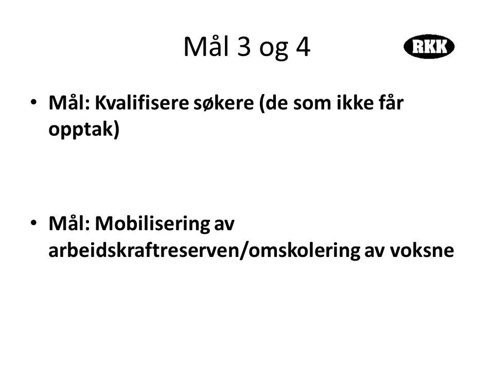 Mål 3 og 4 • Mål: Kvalifisere søkere (de som ikke får opptak) • Mål: Mobilisering av arbeidskraftreserven/omskolering av voksne
