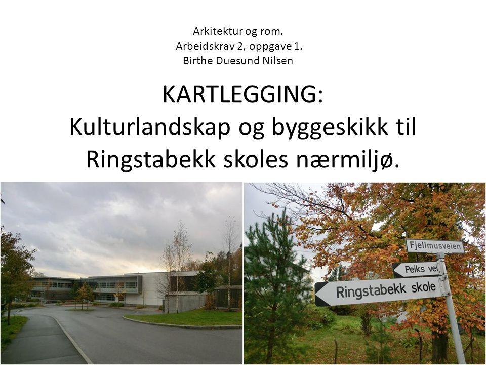 KARTLEGGING: Kulturlandskap og byggeskikk til Ringstabekk skoles nærmiljø. Arkitektur og rom. Arbeidskrav 2, oppgave 1. Birthe Duesund Nilsen