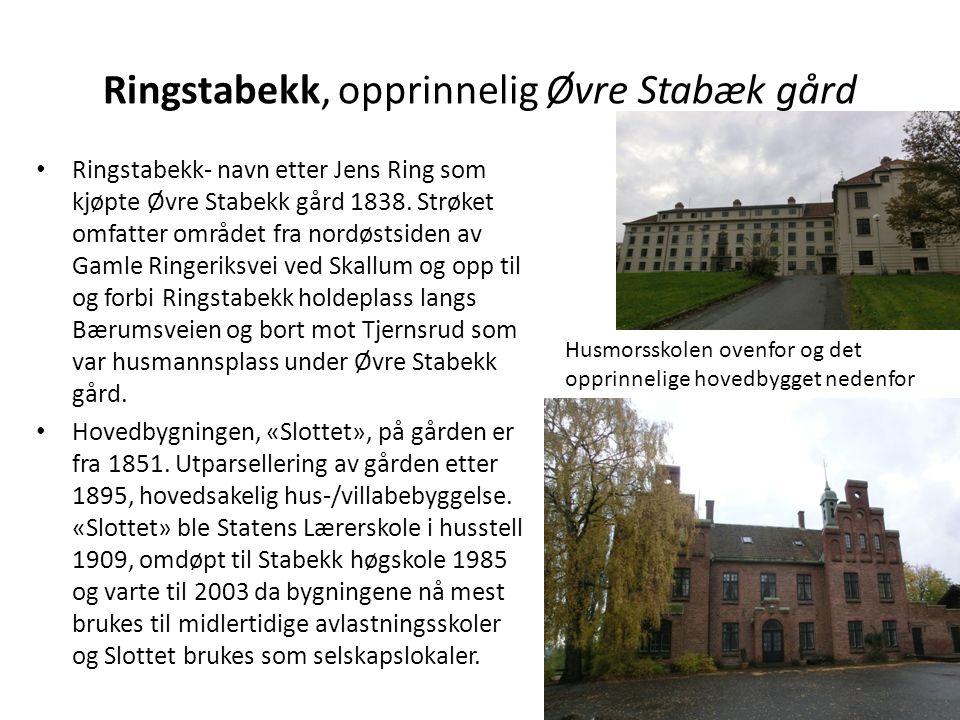 Ringstabekk, opprinnelig Øvre Stabæk gård • Ringstabekk- navn etter Jens Ring som kjøpte Øvre Stabekk gård 1838. Strøket omfatter området fra nordøsts