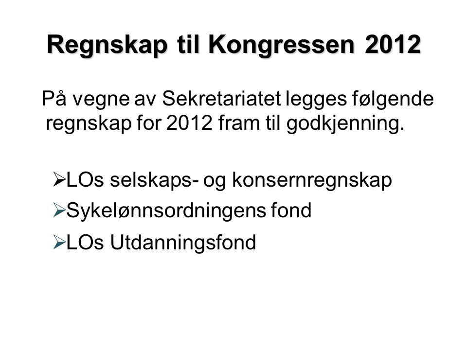 Regnskap til Kongressen 2012 På vegne av Sekretariatet legges følgende regnskap for 2012 fram til godkjenning.