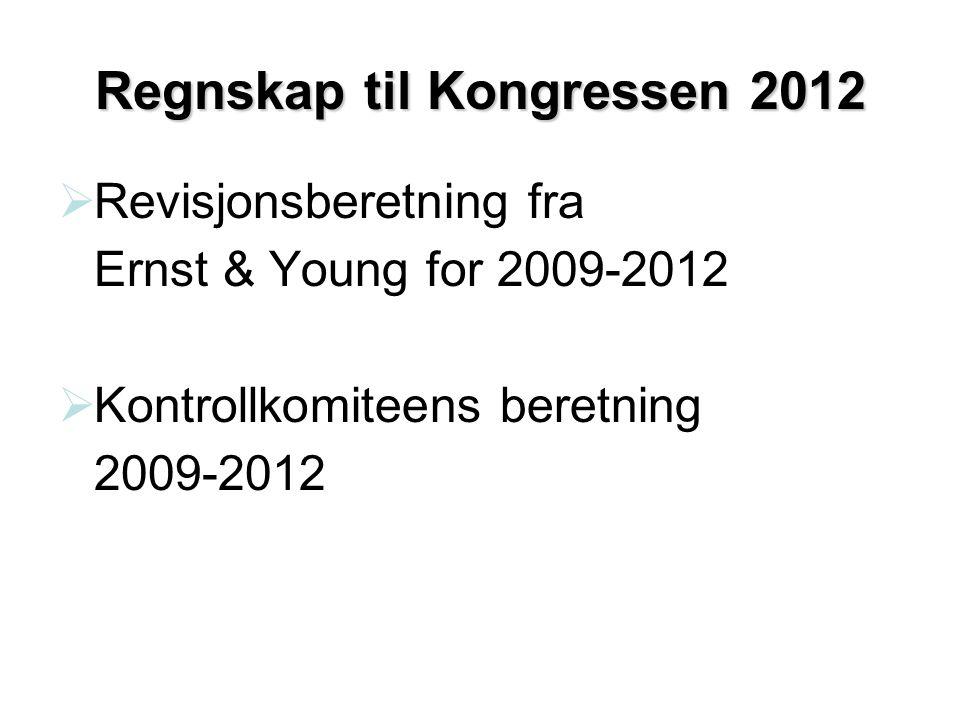 Regnskap til Kongressen 2012  Revisjonsberetning fra Ernst & Young for 2009-2012  Kontrollkomiteens beretning 2009-2012