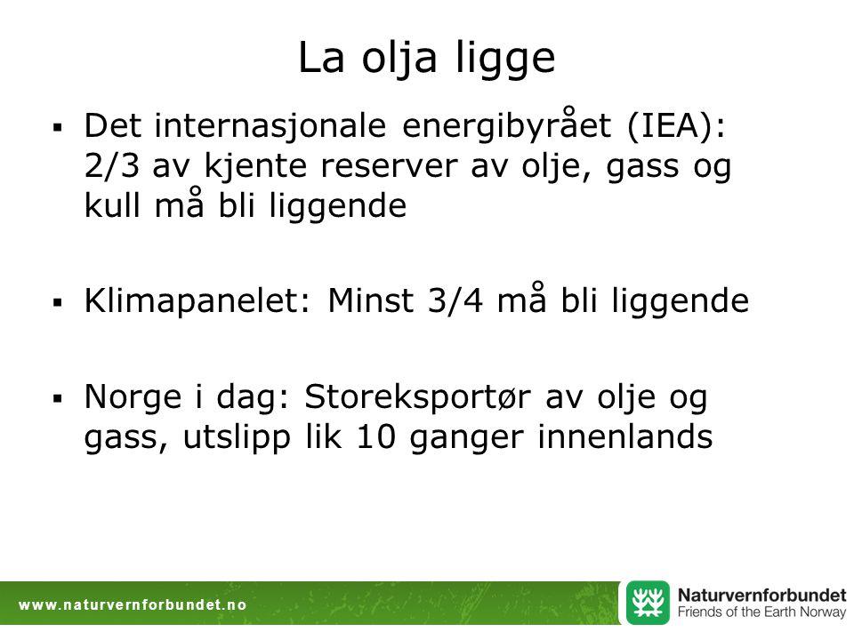 www.naturvernforbundet.no La olja ligge  Det internasjonale energibyrået (IEA): 2/3 av kjente reserver av olje, gass og kull må bli liggende  Klimapanelet: Minst 3/4 må bli liggende  Norge i dag: Storeksportør av olje og gass, utslipp lik 10 ganger innenlands