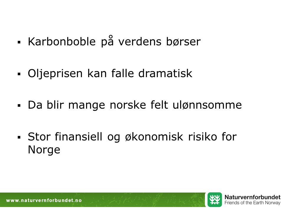  Karbonboble på verdens børser  Oljeprisen kan falle dramatisk  Da blir mange norske felt ulønnsomme  Stor finansiell og økonomisk risiko for Norge