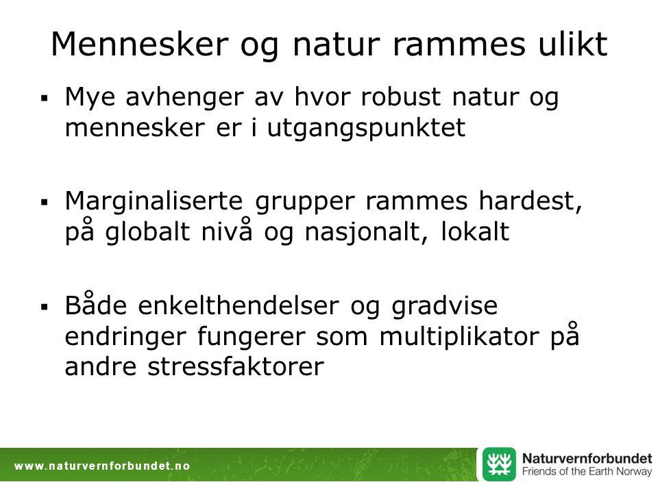 www.naturvernforbundet.no Mennesker og natur rammes ulikt  Mye avhenger av hvor robust natur og mennesker er i utgangspunktet  Marginaliserte gruppe