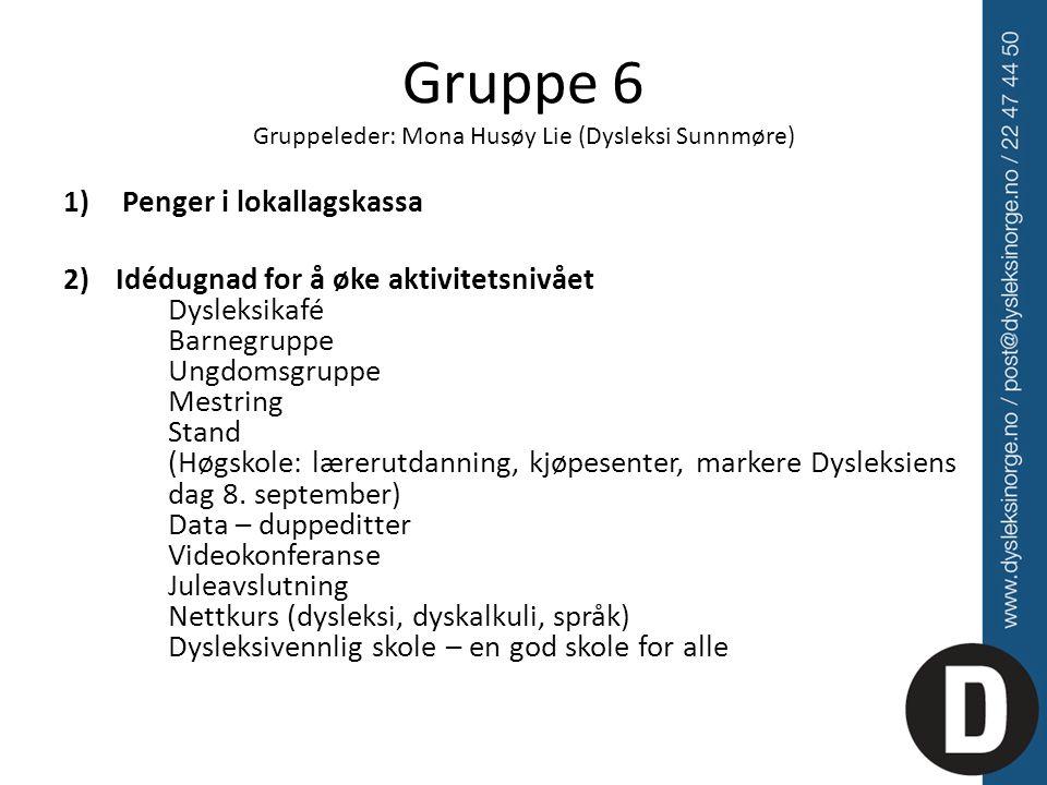 Gruppe 6 Gruppeleder: Mona Husøy Lie (Dysleksi Sunnmøre) 1)Penger i lokallagskassa 2) Idédugnad for å øke aktivitetsnivået Dysleksikafé Barnegruppe Ungdomsgruppe Mestring Stand (Høgskole: lærerutdanning, kjøpesenter, markere Dysleksiens dag 8.