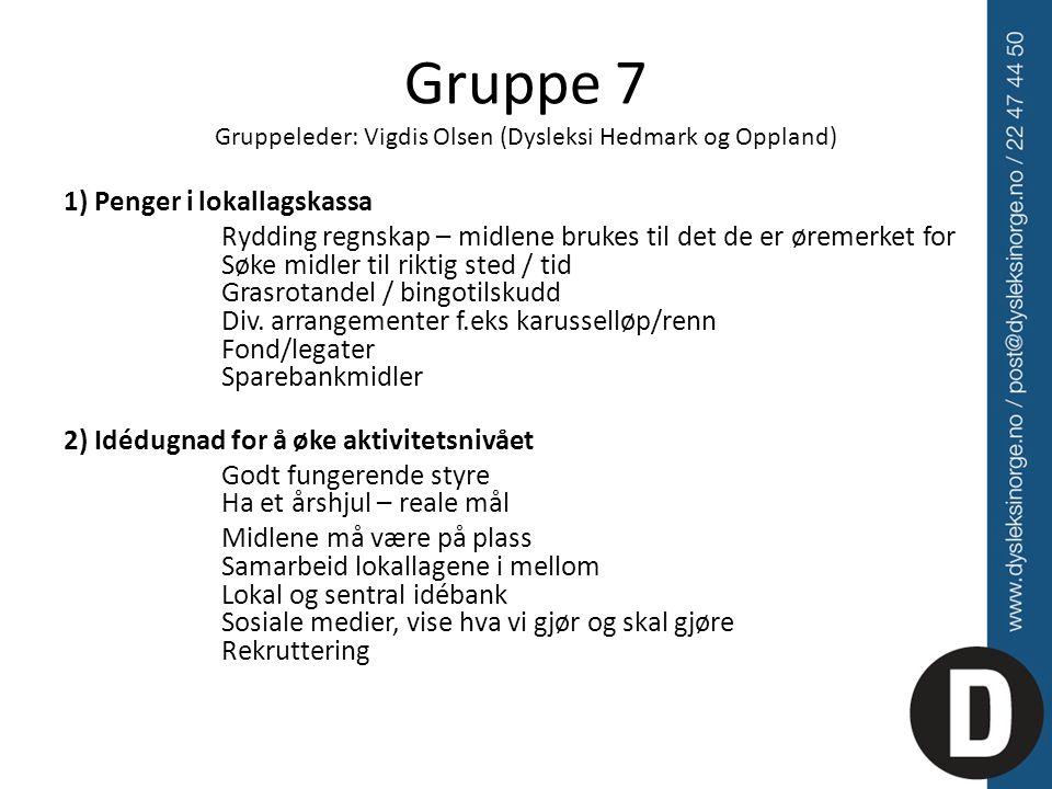 Gruppe 7 Gruppeleder: Vigdis Olsen (Dysleksi Hedmark og Oppland) 1) Penger i lokallagskassa Rydding regnskap – midlene brukes til det de er øremerket for Søke midler til riktig sted / tid Grasrotandel / bingotilskudd Div.