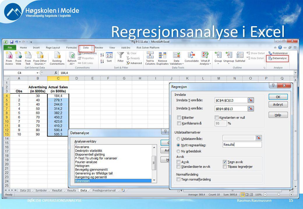 Rasmus RasmussenBØK350 OPERASJONSANALYSE15 Regresjonsanalyse i Excel