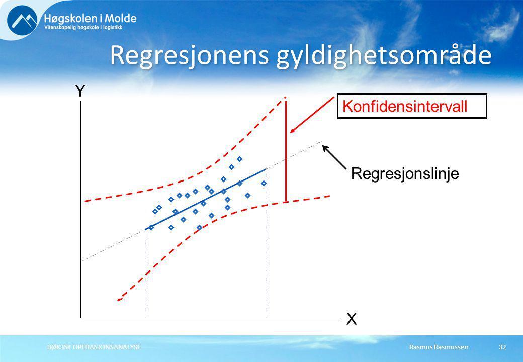 Rasmus RasmussenBØK350 OPERASJONSANALYSE32 Regresjonens gyldighetsområde Y X Regresjonslinje Konfidensintervall
