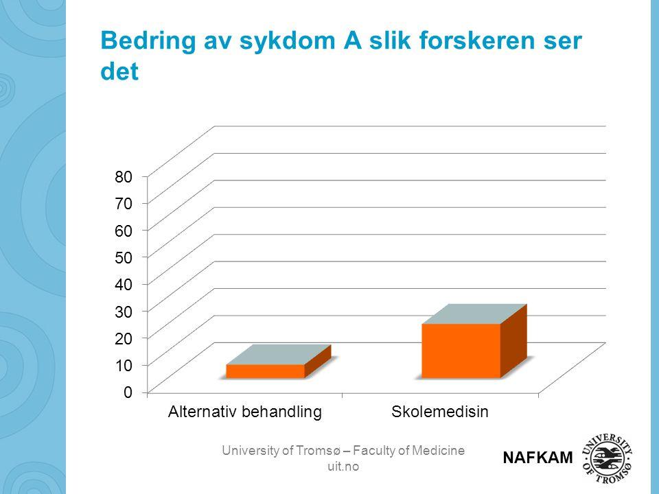 University of Tromsø – Faculty of Medicine uit.no NAFKAM Bruk av alternativ behandling av alternativ behandler utenfor eller helsepersonell innenfor helsevesenet siste 12 måneder.