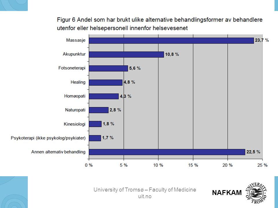 University of Tromsø – Faculty of Medicine uit.no NAFKAM Forvaltere av sannheten om behandlingseffekt Lege Alternativ behandler Pasient