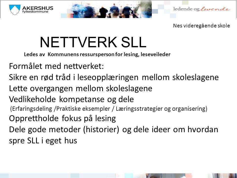 NETTVERK SLL Formålet med nettverket: Sikre en rød tråd i leseopplæringen mellom skoleslagene Lette overgangen mellom skoleslagene Vedlikeholde kompet